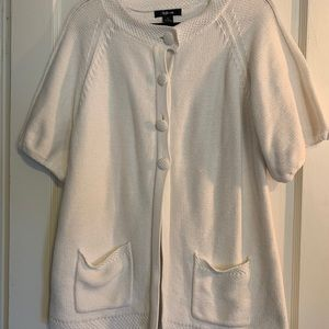 White Cotton Short-Sleeved Sweater